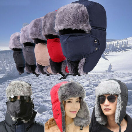 img-Winter Fluffy Fur Trapper Aviator Trooper Hat Russian Earflap with Mask Ski Cap