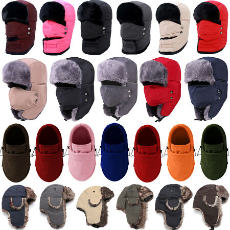 img-Winter Fleece Fur Earflap Trapper Aviator Face Mask Ski Cap Russian Ushanka Hat