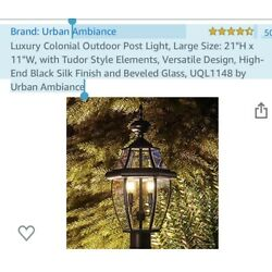 Luxury Black Colonial Outdoor Post Light-Free shipping-new in original box,