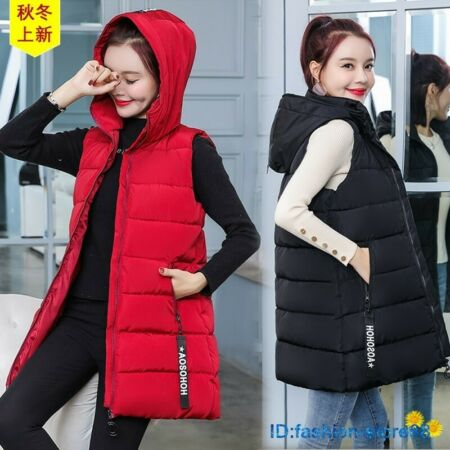 img-Women Down Vest Quilted Jacket Sleeveless Hooded Coat Long Waistcoat Winter NEW