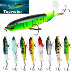 Fishing Lure Topwater Floating Whopper Plopper Rotating Tail Up Water Crank Bait