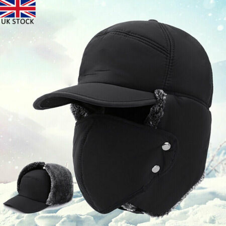 img-Men's Aviator Trapper Hat Winter Earflap Warm Face Ski Cap Outdoor Winter UK