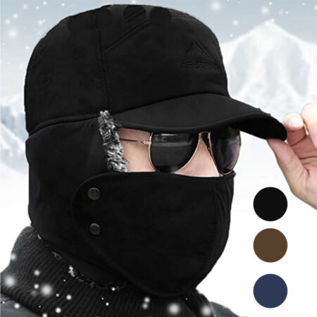 img-Unisex Winter Warm Trooper Trapper Hat 3in1 Faux Fur Bomber Cap Face Mask Cover