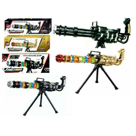 img-Kids Laser Light Gold, Army &Black Gatling Gun TOY Lights Sounds Vibration Sound