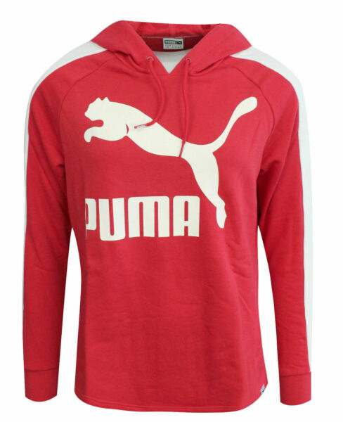 Royaume-UniPuma Archive Logo T7 Womens Hoodie Long Sleeved Top Red 572489 10 Z41A