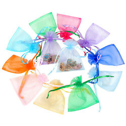 100/200pcs Organza Gift Bags Jewelry Drawstring Candy Favors Pouch Mesh Bag 5x7