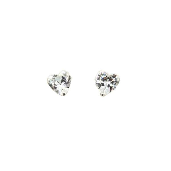 Royaume-UniThe Olivia Collection Argent Sterling Zircon  Forme Coeur Boucles 6mm