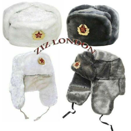 img-New Russian Trapper Hat White Soviet Badge Faux Fur Ushanka Cossack Flap Cap UK