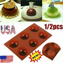 Kyпить ONE 6 Hole Semi-Sphere Round Silicone Mold Hot Chocolate Bombs Cake Baking Mould на еВаy.соm