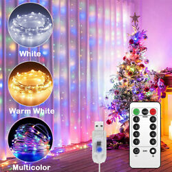 300 LED Curtain Fairy Lights USB String Light W/ Remote Party Wedding Christmas