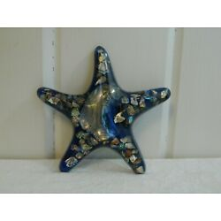 Kyпить Vintage Mid Century Blue Lucite Abalone Shell Starfish Wall Plaque на еВаy.соm
