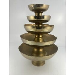 Kyпить Vintage Footed Brass Bowl Scalloped Top Stacking Set 5 Piece на еВаy.соm
