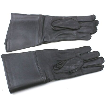 img-GENUINE 1996 BELGIAN ARMY LEATHER MOTOR CYCLE GLOVES GAUNTLETS SMALL unissued