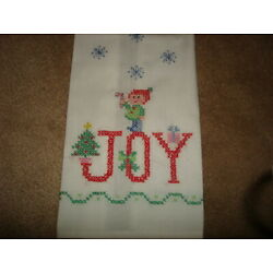 Kyпить VINTAGE CHRISTMAS  LINEN GUEST HAND TOWEL EMBROIDERED ELF JOY CUTE на еВаy.соm