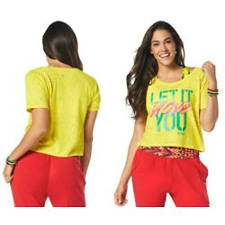 Zumba Let It Move You Crop Tee Shirt - Yellow ~ Small, Medium, Large, XL ~ New!