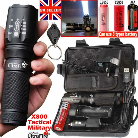 img-Ultrafire X800 Flashlight 100000lm XML CREE LED tactical Zoom Military Torch .