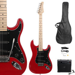 New Burning Fire Electric Guitar with Black Pickguard 20W AMP Red
