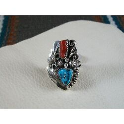 Kyпить Red Coral and Turquoise Ring, size 8 на еВаy.соm