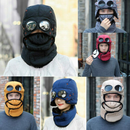 img-Men Thermal Winter Trapper Hat With Glasses Cycling Outdoor Earflap Mask Cap UK