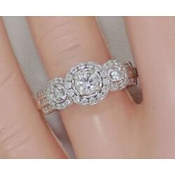 Kyпить 14k Solid White Gold Diamond Triple Halo Cluster Engagement Ring ~ 7 ~ 6.5 Grams на еВаy.соm