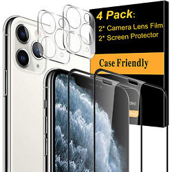 Kyпить For iPhone 11 12 Pro Max FULL COVER Tempered Glass Screen Protector+Camera Lens на еВаy.соm