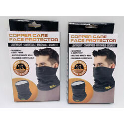 Lot of 2 Copper Care Face Protector & Mask | Lightweight Washable Black | NEW