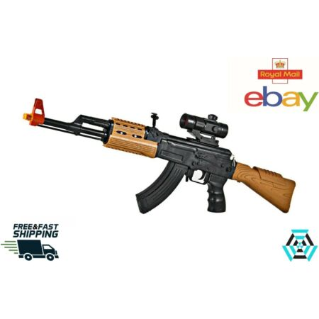 img-UK Kids AK47 Sniper Rifle Toy Gun Lights Sound Vibration Boys Army Soldier Play