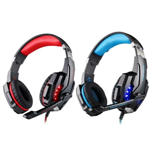 United KingdomEACH G9000 Gaming Headset 3.5mm+ Single Hole Mic LED Light Headphone WT7n