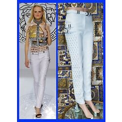 F/W 2013 L# 37 VERSACE WHITE STUDDED LEATHER MOTO PANTS 40 - 4