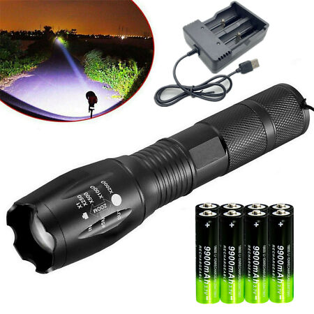 img-90000LM T6 LED Torch Rechargeable Flashlight Police Tactical Zoom Camping Lamp E