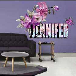 Lily Flowers Custom name wall decal, personalized sticker, personalized decal,