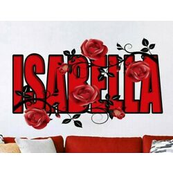 Rose Flower Custom name wall decal, personalized sticker, personalized decal
