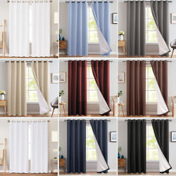 Thermal Blackout Curtains for Bedroom Window Curtain Energy Saving Lined Drapes