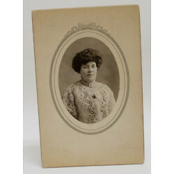 Kyпить Vintage cab Card oval photo Mature Woman in embroidered blouse c1900  на еВаy.соm