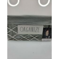 Rae Dunn White And Gray ''ORGANIZE'' Metal Wire Basket With Liner