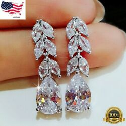 Gorgeous 925 Silver Drop Earrings for Women Jewelry White Sapphire A Pair/set