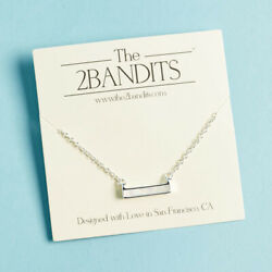The 2 Bandits Athens Necklace Silver Iridescent Bar Womens Pendant