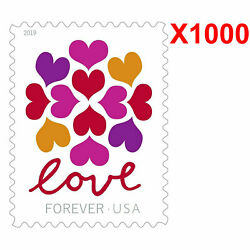 1000 USPS 2019 Love Panes Forever Postage, 50 Sheets First Class Mail Postage!!!