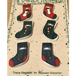 Great 6 Realistic Ceramic Buttons CHRISTMAS STOCKING w SNOWMAN CANDY CANE TREE