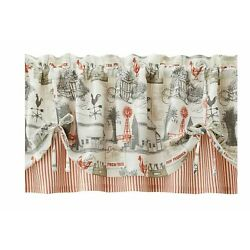 Better Homes & Gardens Farmhouse Country Rustic Farm Window Valance Cream Red
