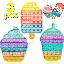 3Pack Fidget Toys Silicone Push Popit Bubble Sensory Stress Anxiety Relief Toys
