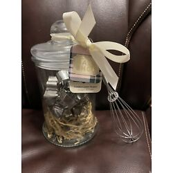 The Bake Shop Cookie Cutter & Whisk Gift Set Christmas Cookie Cutters NEW in Jar