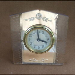 Vintage Lux Clock Pink Mirror Front Etched with Easel Back AS IS