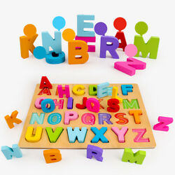 Children Kids Toddler Alphabet ABC wooden jigsaw learning educational puzzle US