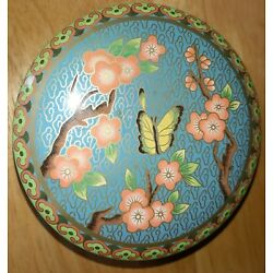 Vintage Daher Decorated Ware Round Tin  Storage Butterfly Cherry Blossoms Floral