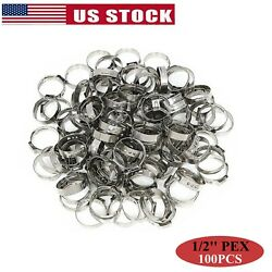 100Pcs 1/2'' PEX Clamp Cinch Rings Crimp Pinch Fittings 304 Stainless Steel