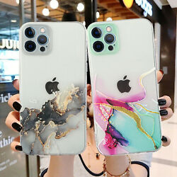 For iPhone 13 12 Pro Max 11 X XR 8 7 Clear Marble Silicone Shockproof Case Cover