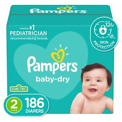 Pampers Baby-Dry Extra Protection Diapers, Size 2, 186 Count