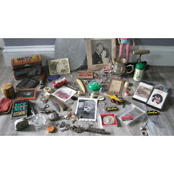 Junk Drawer lot odd Various Items jewelry photos tapes tokens toys barbie tins