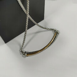 David Yurman Crossover Collection  Bar Cable Gold & Sterling Silver Necklace